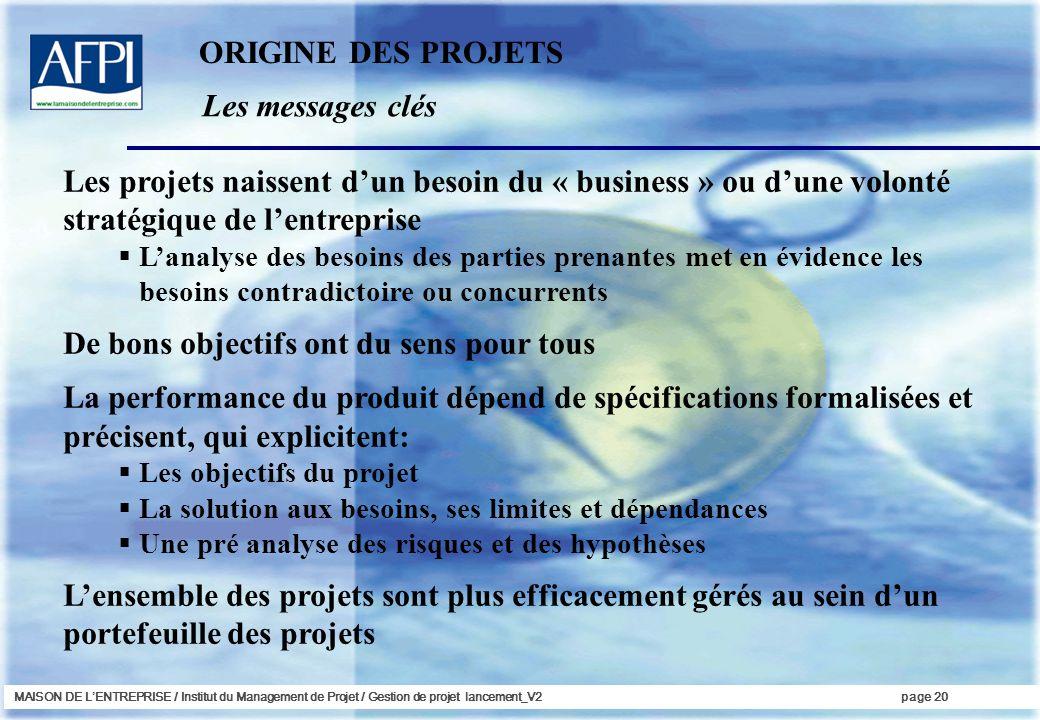 MAISON DE LENTREPRISE / Institut du Management de Projet / Gestion de projet lancement_V2page 20 Les messages clés ORIGINE DES PROJETS Les projets nai