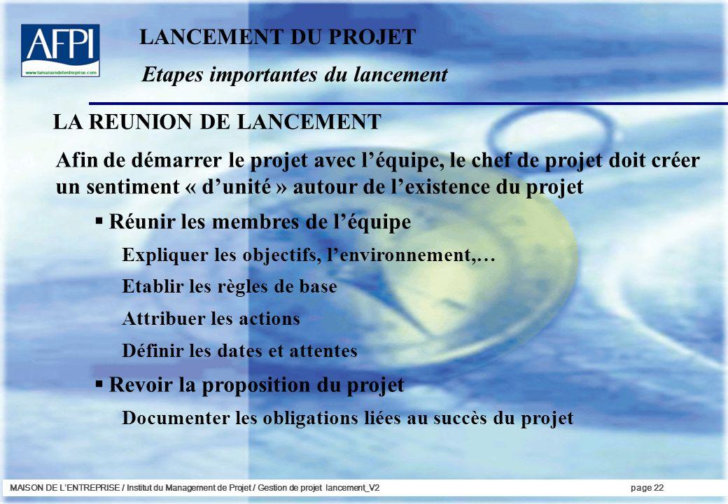 MAISON DE LENTREPRISE / Institut du Management de Projet / Gestion de projet lancement_V2page 22 Etapes importantes du lancement LANCEMENT DU PROJET A