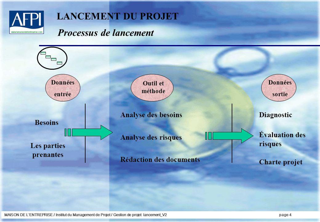 MAISON DE LENTREPRISE / Institut du Management de Projet / Gestion de projet lancement_V2page 4 Données entrée Besoins Les parties prenantes Outil et