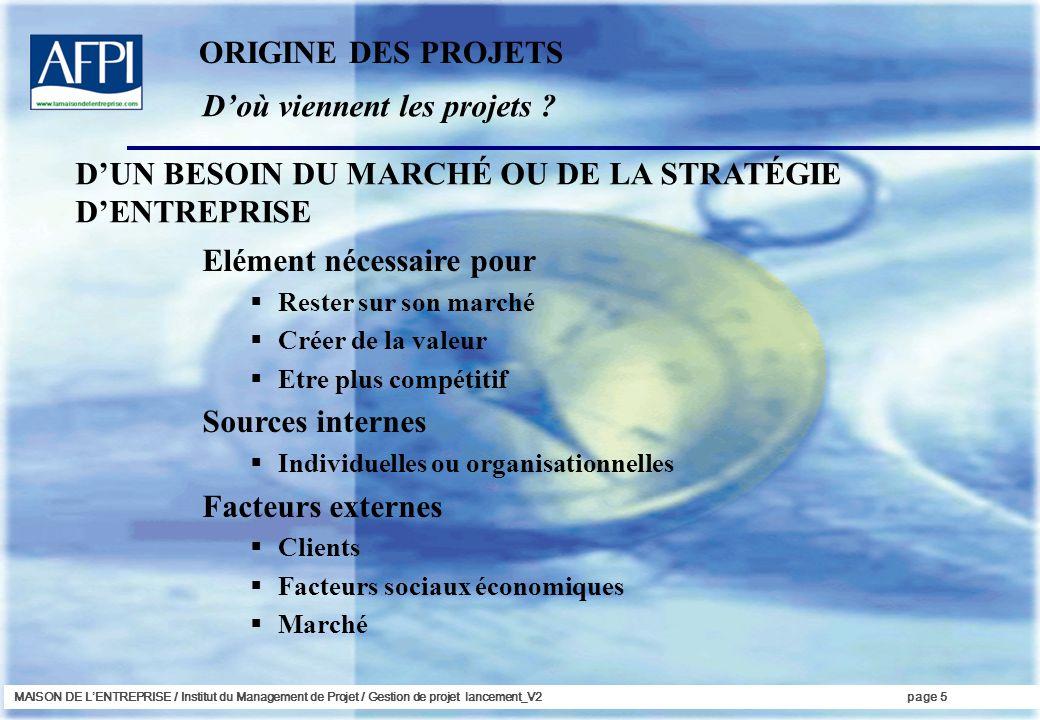 MAISON DE LENTREPRISE / Institut du Management de Projet / Gestion de projet lancement_V2page 5 Doù viennent les projets ? ORIGINE DES PROJETS Elément