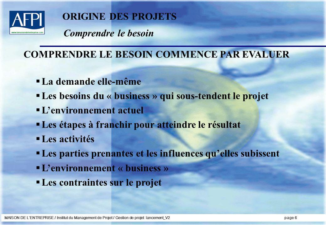 MAISON DE LENTREPRISE / Institut du Management de Projet / Gestion de projet lancement_V2page 6 Comprendre le besoin ORIGINE DES PROJETS La demande el