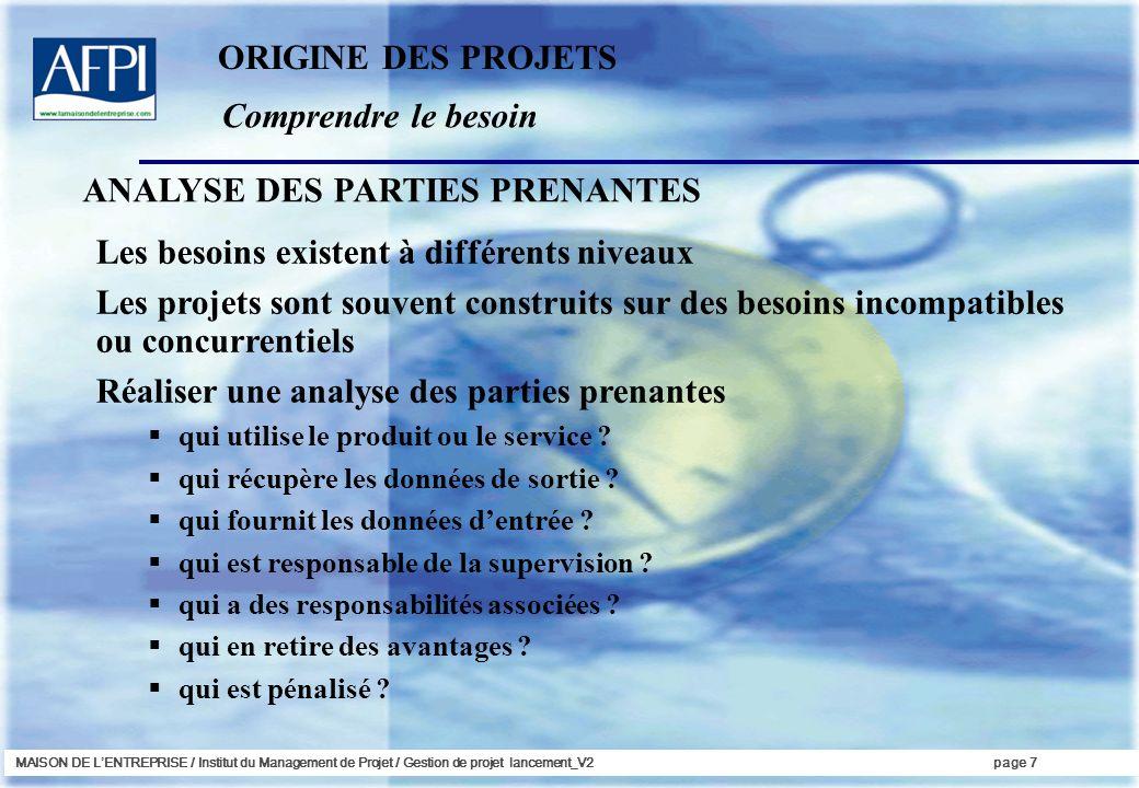 MAISON DE LENTREPRISE / Institut du Management de Projet / Gestion de projet lancement_V2page 7 Comprendre le besoin ORIGINE DES PROJETS Les besoins e