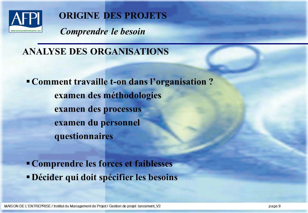 MAISON DE LENTREPRISE / Institut du Management de Projet / Gestion de projet lancement_V2page 9 Comprendre le besoin ORIGINE DES PROJETS Comment trava