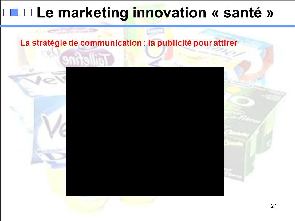 21 Le marketing innovation « santé » La stratégie de communication : la publicité pour attirer