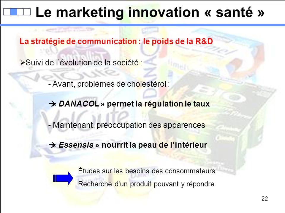 22 Le marketing innovation « santé » La stratégie de communication : le poids de la R&D Suivi de lévolution de la société : - Avant, problèmes de chol