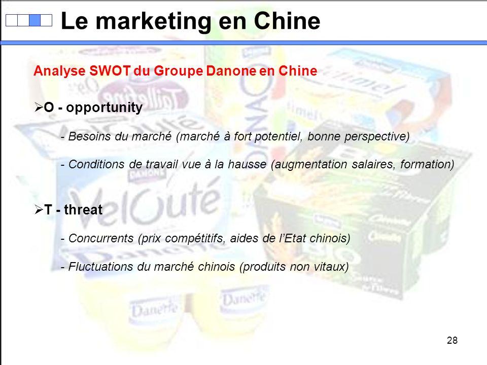 28 Le marketing en Chine Analyse SWOT du Groupe Danone en Chine O - opportunity - Besoins du marché (marché à fort potentiel, bonne perspective) - Con