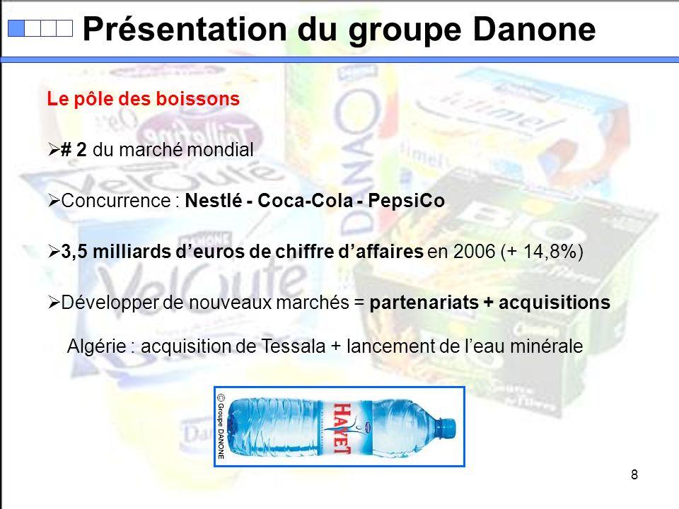 8 Le pôle des boissons # 2 du marché mondial Concurrence : Nestlé - Coca-Cola - PepsiCo 3,5 milliards deuros de chiffre daffaires en 2006 (+ 14,8%) Dé