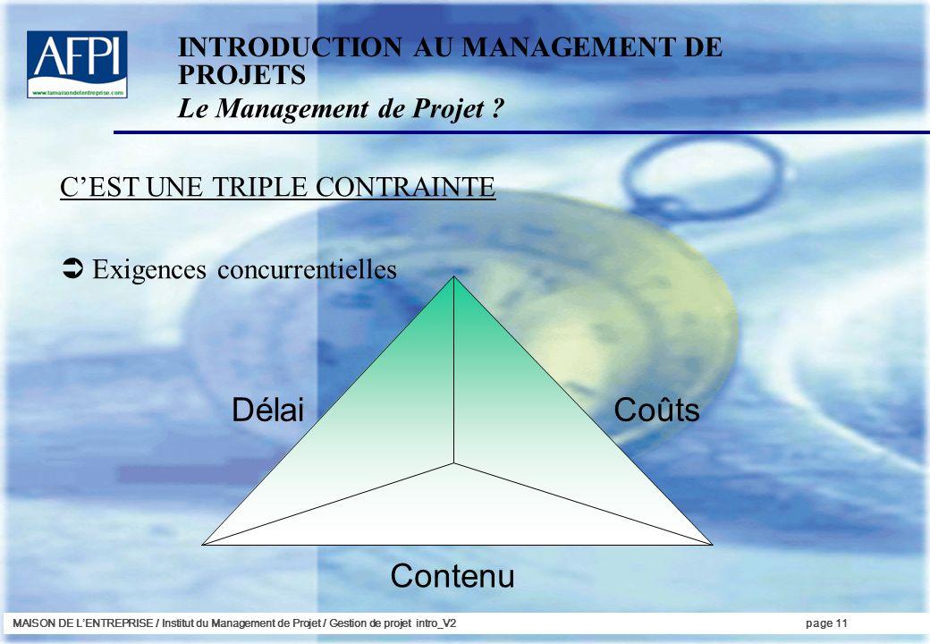 MAISON DE LENTREPRISE / Institut du Management de Projet / Gestion de projet intro_V2page 11 CEST UNE TRIPLE CONTRAINTE Exigences concurrentielles INT