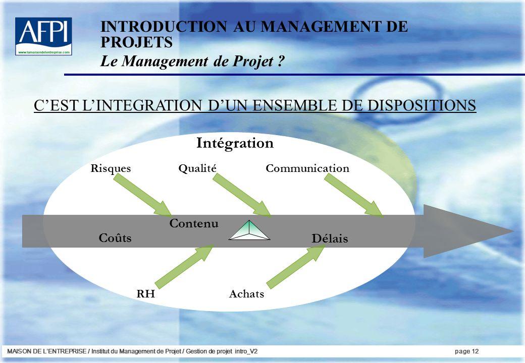 MAISON DE LENTREPRISE / Institut du Management de Projet / Gestion de projet intro_V2page 12 RisquesQualité RHAchats Communication Contenu Coûts Délai