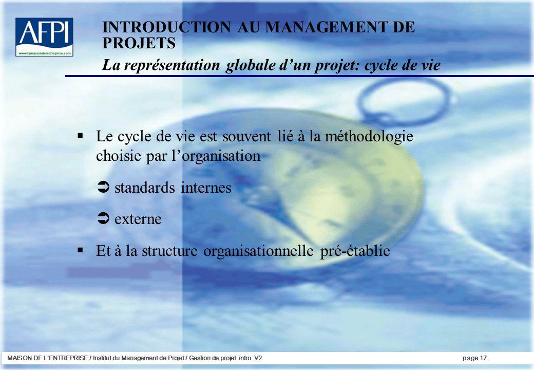 MAISON DE LENTREPRISE / Institut du Management de Projet / Gestion de projet intro_V2page 17 INTRODUCTION AU MANAGEMENT DE PROJETS Le cycle de vie est