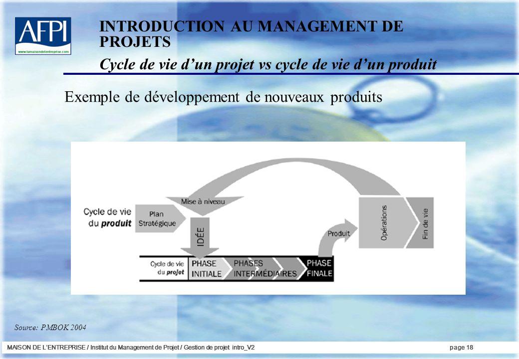 MAISON DE LENTREPRISE / Institut du Management de Projet / Gestion de projet intro_V2page 18 INTRODUCTION AU MANAGEMENT DE PROJETS Cycle de vie dun pr