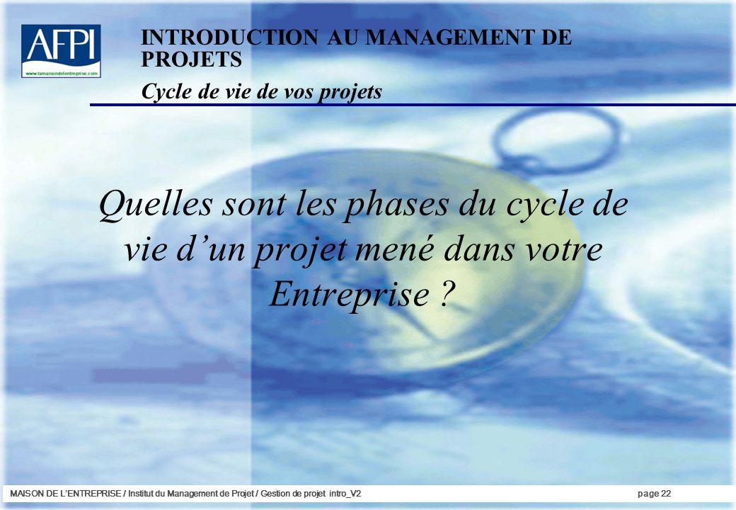 MAISON DE LENTREPRISE / Institut du Management de Projet / Gestion de projet intro_V2page 22 Cycle de vie de vos projets INTRODUCTION AU MANAGEMENT DE