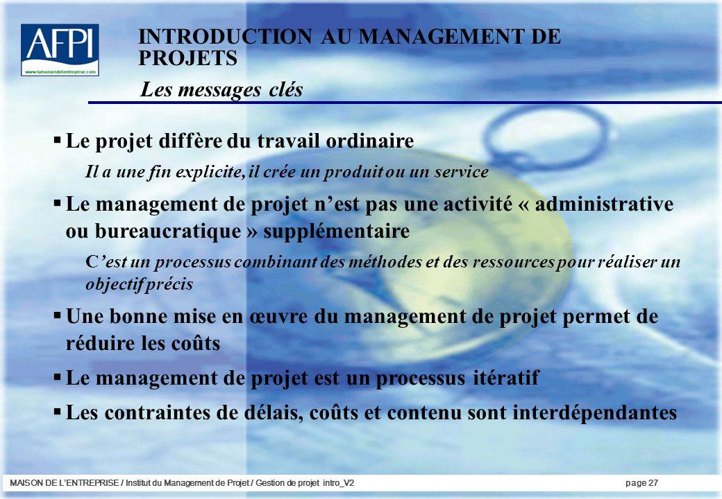 MAISON DE LENTREPRISE / Institut du Management de Projet / Gestion de projet intro_V2page 27 Les messages clés INTRODUCTION AU MANAGEMENT DE PROJETS L