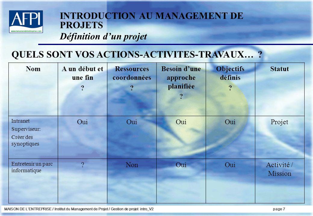 MAISON DE LENTREPRISE / Institut du Management de Projet / Gestion de projet intro_V2page 7 QUELS SONT VOS ACTIONS-ACTIVITES-TRAVAUX… ? INTRODUCTION A