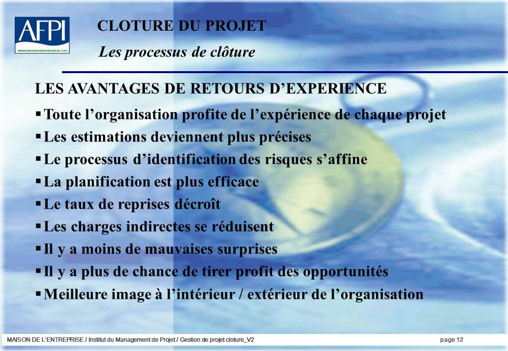 MAISON DE LENTREPRISE / Institut du Management de Projet / Gestion de projet cloture_V2page 12 Les processus de clôture Toute lorganisation profite de