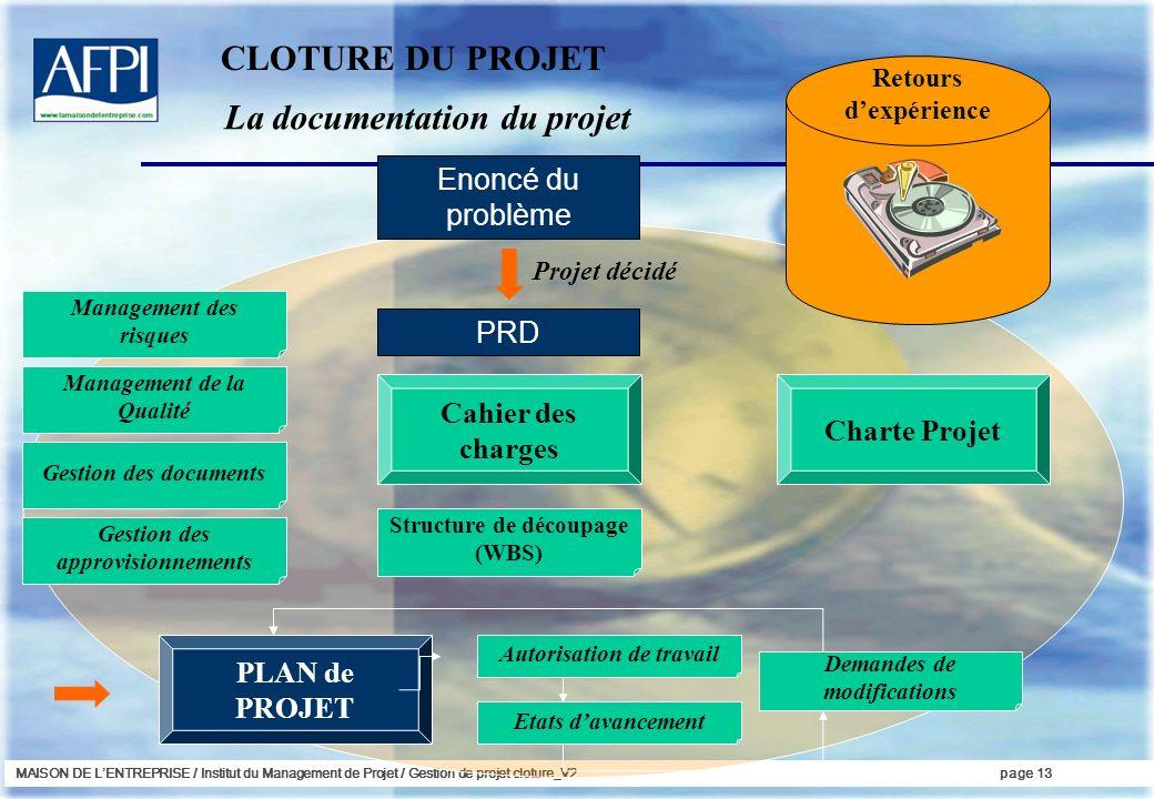 MAISON DE LENTREPRISE / Institut du Management de Projet / Gestion de projet cloture_V2page 13 La documentation du projet Enoncé du problème PRD Proje