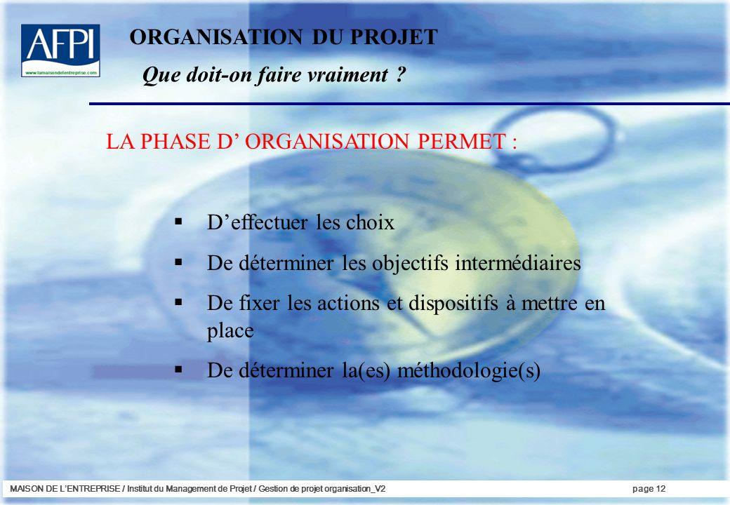 MAISON DE LENTREPRISE / Institut du Management de Projet / Gestion de projet organisation_V2page 12 LA PHASE D ORGANISATION PERMET : Deffectuer les ch