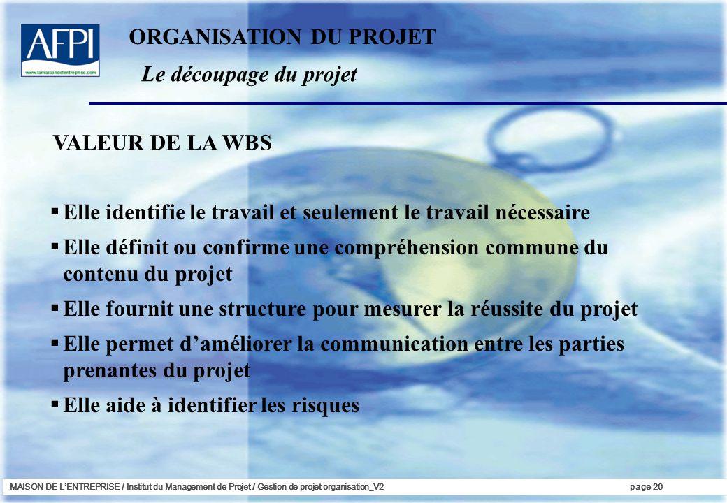MAISON DE LENTREPRISE / Institut du Management de Projet / Gestion de projet organisation_V2page 20 VALEUR DE LA WBS Elle identifie le travail et seul