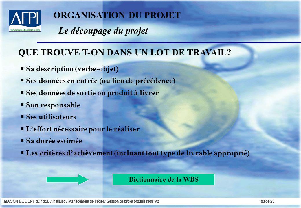 MAISON DE LENTREPRISE / Institut du Management de Projet / Gestion de projet organisation_V2page 23 Sa description (verbe-objet) Ses données en entrée