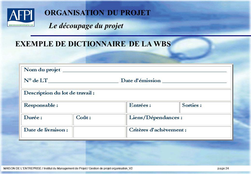 MAISON DE LENTREPRISE / Institut du Management de Projet / Gestion de projet organisation_V2page 24 EXEMPLE DE DICTIONNAIRE DE LA WBS Le découpage du