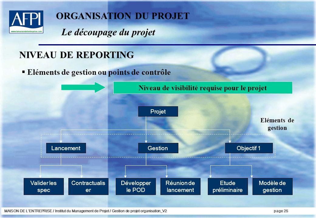 MAISON DE LENTREPRISE / Institut du Management de Projet / Gestion de projet organisation_V2page 25 NIVEAU DE REPORTING Eléments de gestion ou points