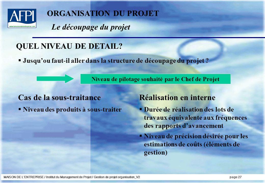 MAISON DE LENTREPRISE / Institut du Management de Projet / Gestion de projet organisation_V2page 27 Jusquou faut-il aller dans la structure de découpa