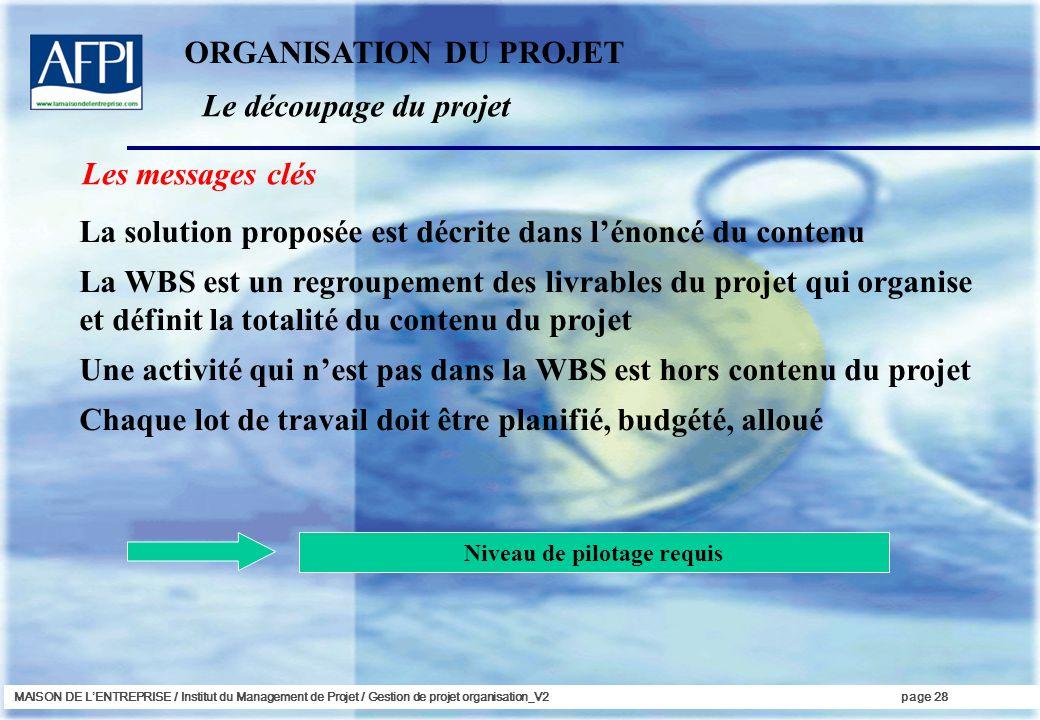 MAISON DE LENTREPRISE / Institut du Management de Projet / Gestion de projet organisation_V2page 28 Les messages clés La solution proposée est décrite