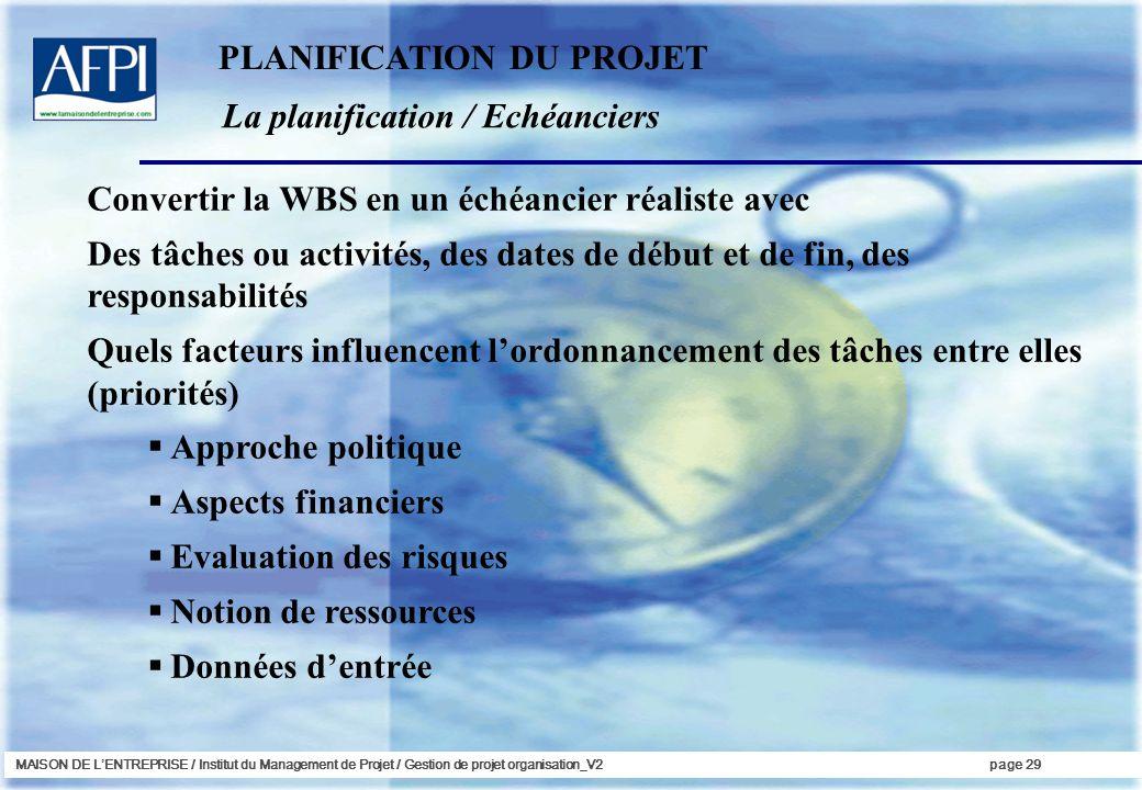 MAISON DE LENTREPRISE / Institut du Management de Projet / Gestion de projet organisation_V2page 29 La planification / Echéanciers Convertir la WBS en