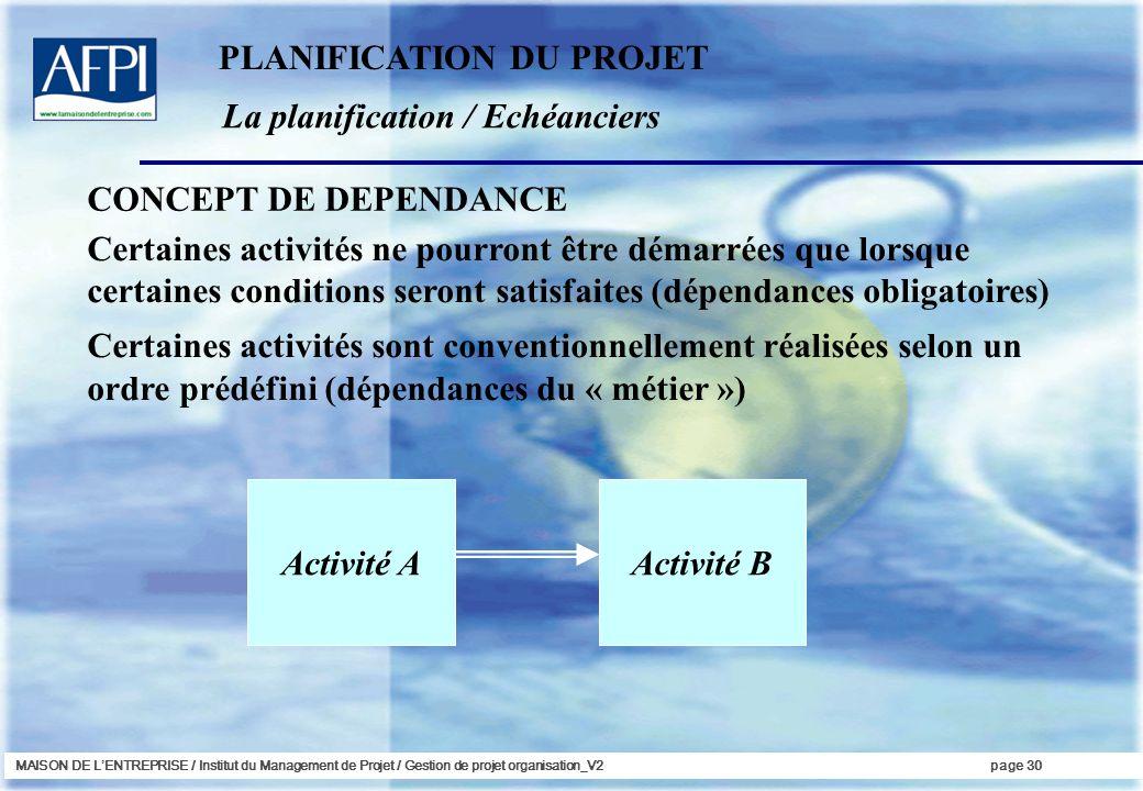 MAISON DE LENTREPRISE / Institut du Management de Projet / Gestion de projet organisation_V2page 30 La planification / Echéanciers Certaines activités