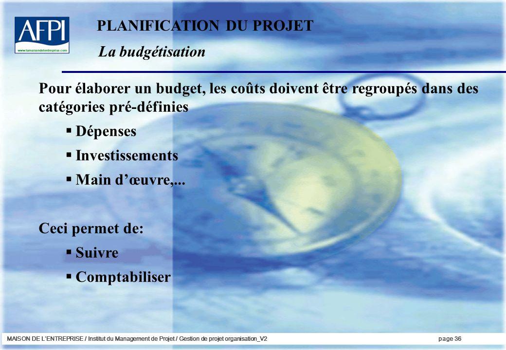 MAISON DE LENTREPRISE / Institut du Management de Projet / Gestion de projet organisation_V2page 36 La budgétisation PLANIFICATION DU PROJET Pour élab