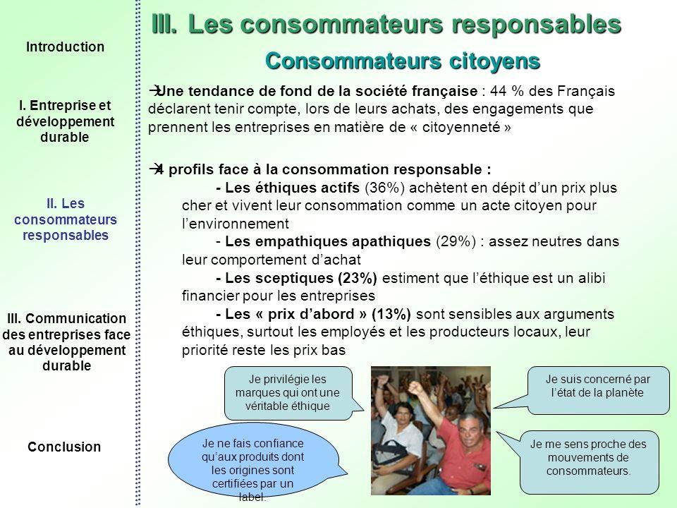 12 III. Les consommateurs responsables Consommateurs citoyens Une tendance de fond de la société française : 44 % des Français déclarent tenir compte,