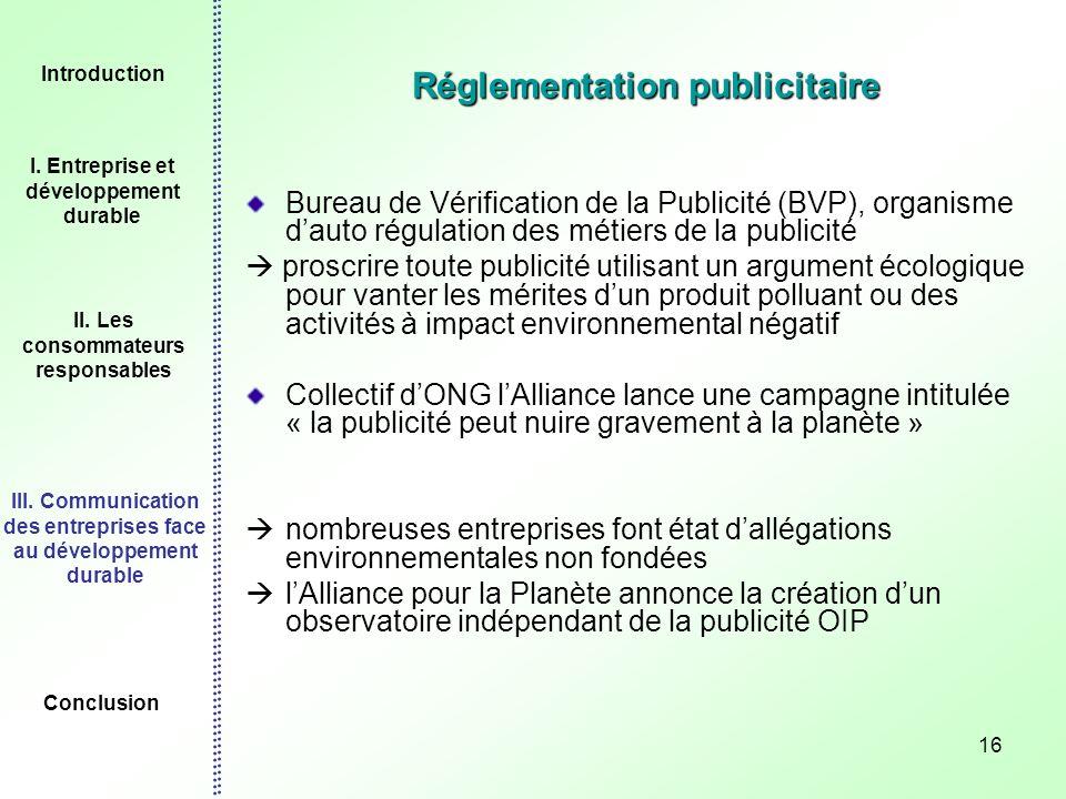 16 Réglementation publicitaire Bureau de Vérification de la Publicité (BVP), organisme dauto régulation des métiers de la publicité proscrire toute pu