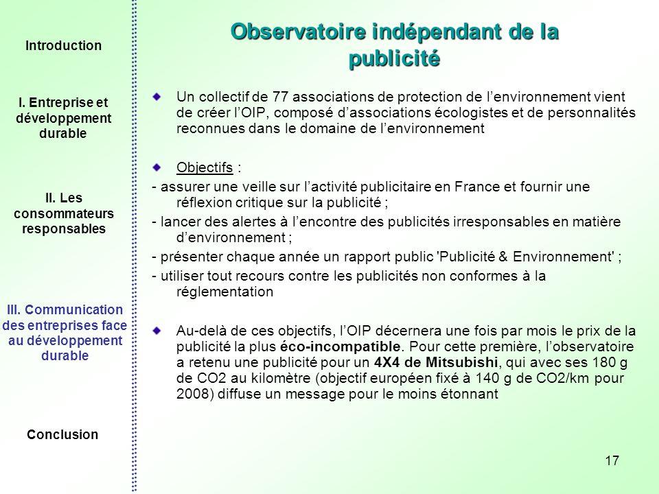 17 Observatoire indépendant de la publicité Un collectif de 77 associations de protection de lenvironnement vient de créer lOIP, composé dassociations