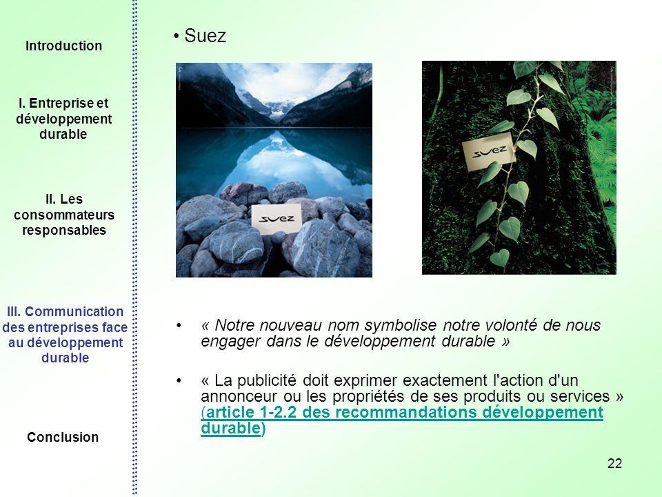 22 Suez « Notre nouveau nom symbolise notre volonté de nous engager dans le développement durable » « La publicité doit exprimer exactement l'action d