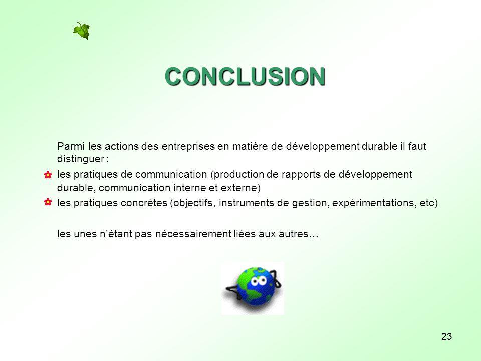 23 CONCLUSION Parmi les actions des entreprises en matière de développement durable il faut distinguer : les pratiques de communication (production de