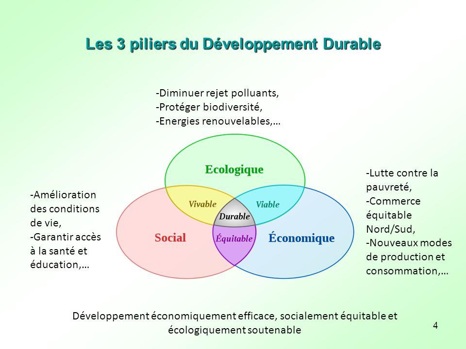 4 Les 3 piliers du Développement Durable Développement économiquement efficace, socialement équitable et écologiquement soutenable -Lutte contre la pa
