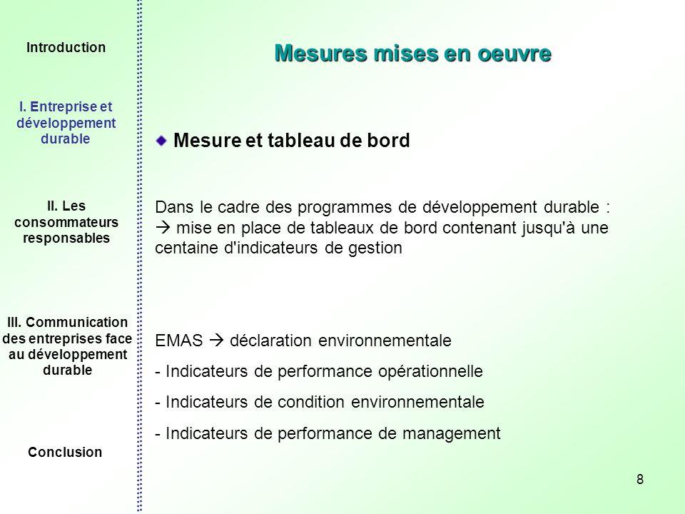 8 Mesures mises en oeuvre Mesure et tableau de bord Dans le cadre des programmes de développement durable : mise en place de tableaux de bord contenan