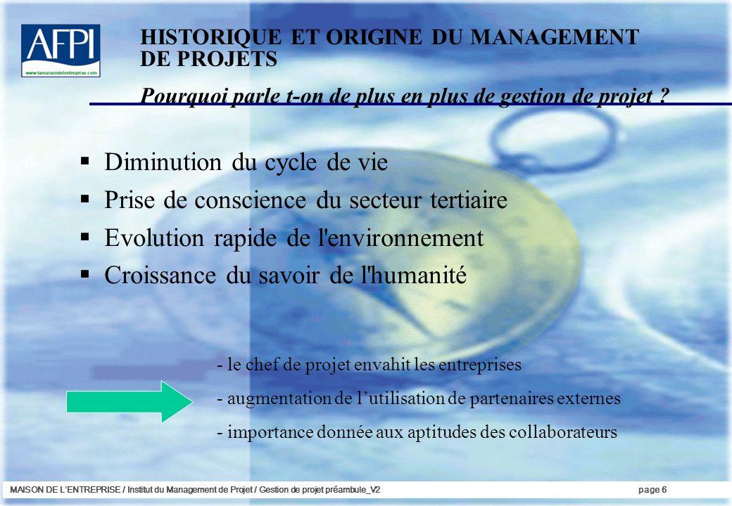 MAISON DE LENTREPRISE / Institut du Management de Projet / Gestion de projet préambule_V2page 6 Diminution du cycle de vie Prise de conscience du sect