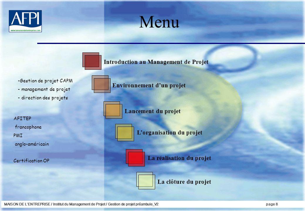 MAISON DE LENTREPRISE / Institut du Management de Projet / Gestion de projet préambule_V2page 8 Menu Introduction au Management de Projet Environnemen