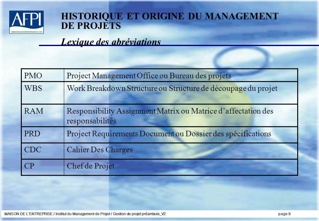 MAISON DE LENTREPRISE / Institut du Management de Projet / Gestion de projet préambule_V2page 9 Lexique des abréviations HISTORIQUE ET ORIGINE DU MANA