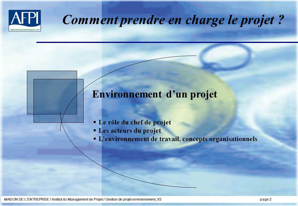 MAISON DE LENTREPRISE / Institut du Management de Projet / Gestion de projet environnement_V2page 2 Environnement dun projet Le rôle du chef de projet Les acteurs du projet Lenvironnement de travail, concepts organisationnels Comment prendre en charge le projet ?