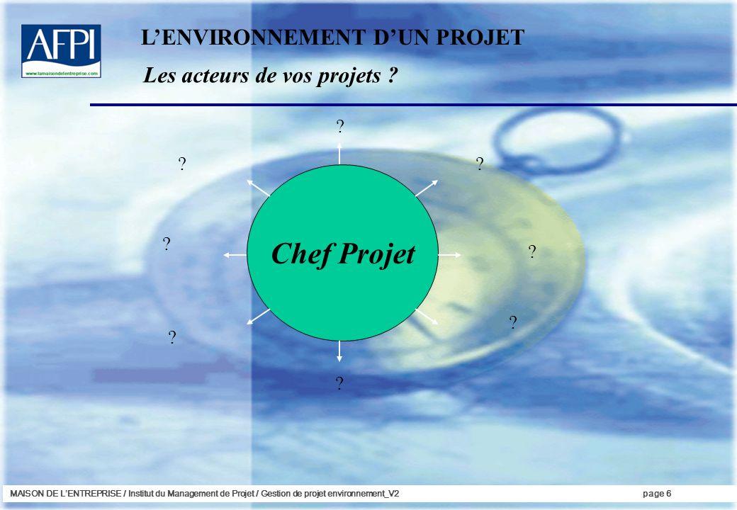MAISON DE LENTREPRISE / Institut du Management de Projet / Gestion de projet environnement_V2page 6 Les acteurs de vos projets .