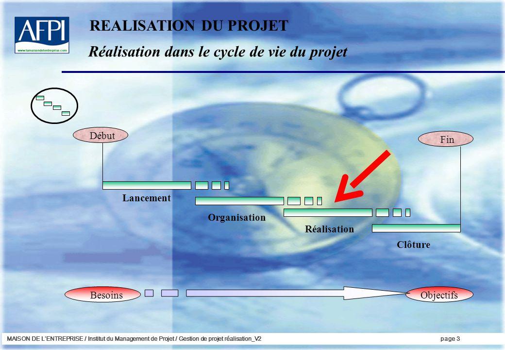 MAISON DE LENTREPRISE / Institut du Management de Projet / Gestion de projet réalisation_V2page 24 Il nest pas suffisant de savoir où lon en est dans le projet, encore faut-il savoir doù lon vient et où lon va...