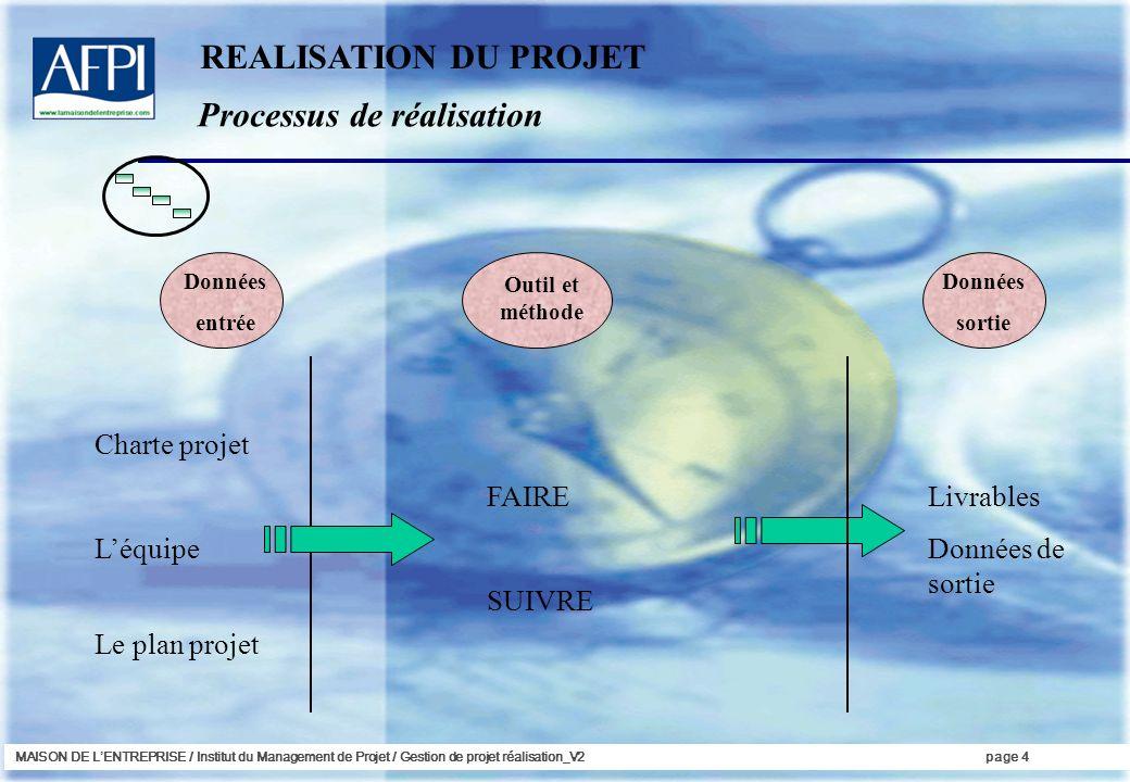 MAISON DE LENTREPRISE / Institut du Management de Projet / Gestion de projet réalisation_V2page 5 Le réalisation est la phase de concrétisation.