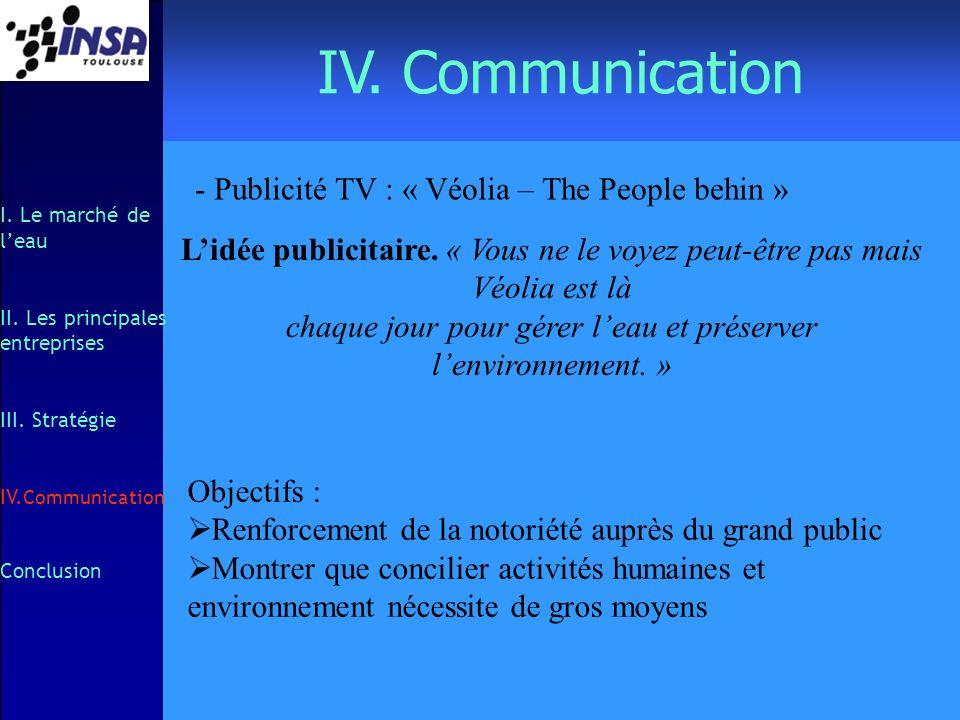 IV. Communication I. Le marché de leau II. Les principales entreprises III. Stratégie IV. Communication Conclusion - Publicité TV : « Véolia – The Peo