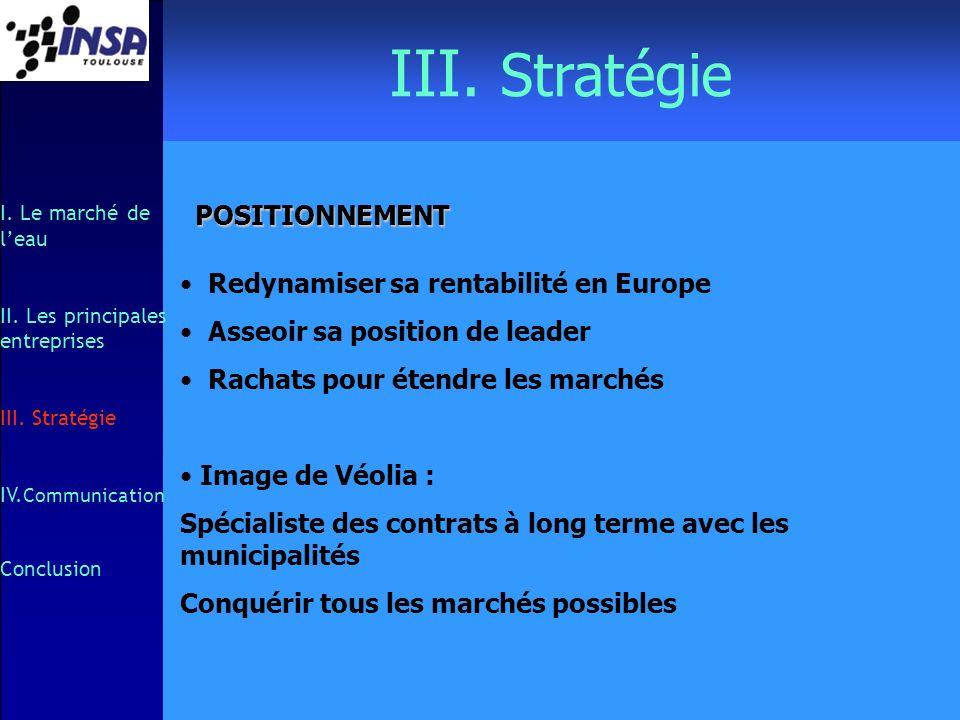 III. Stratégie I. Le marché de leau II. Les principales entreprises III. Stratégie IV. Communication Conclusion POSITIONNEMENT Redynamiser sa rentabil