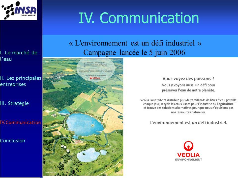 IV. Communication I. Le marché de leau II. Les principales entreprises III. Stratégie IV. Communication Conclusion « L'environnement est un défi indus