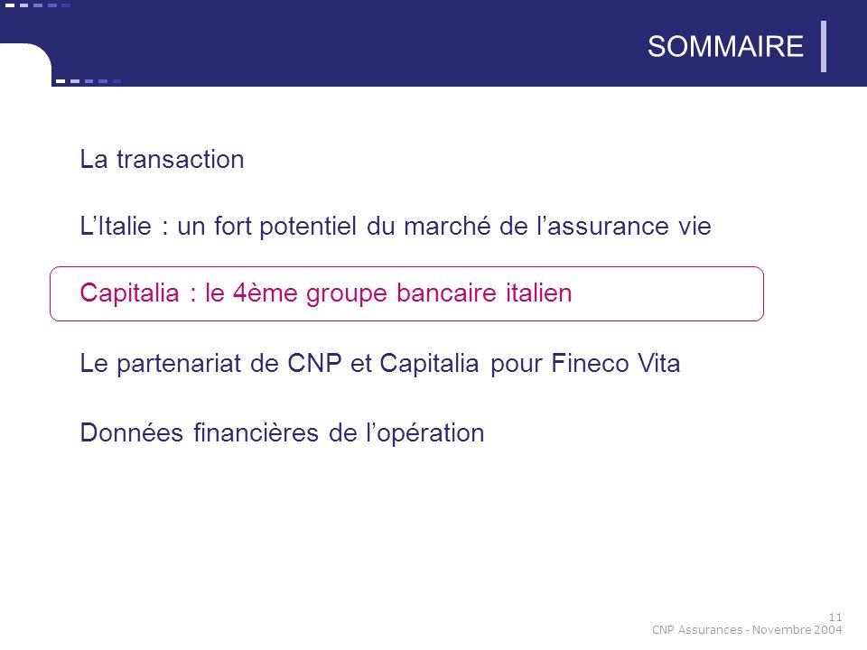 11 CNP Assurances - Novembre 2004 SOMMAIRE La transaction LItalie : un fort potentiel du marché de lassurance vie Capitalia : le 4ème groupe bancaire