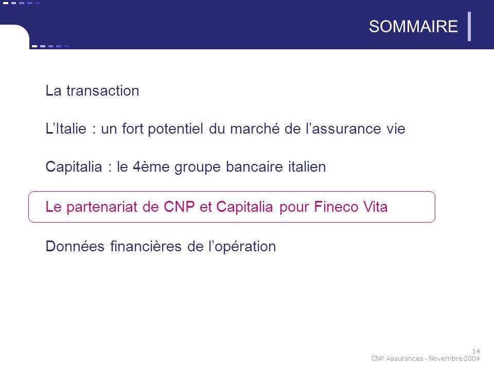 14 CNP Assurances - Novembre 2004 SOMMAIRE La transaction LItalie : un fort potentiel du marché de lassurance vie Capitalia : le 4ème groupe bancaire