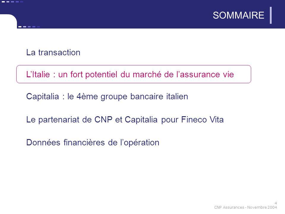 4 CNP Assurances - Novembre 2004 SOMMAIRE La transaction LItalie : un fort potentiel du marché de lassurance vie Capitalia : le 4ème groupe bancaire i